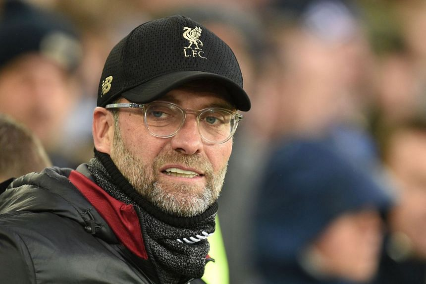 Liverpool's German manager Jurgen Klopp looks on before the English Premier League football match between Everton and Liverpool at Goodison Park in Liverpool, north west England on March 3, 2019.