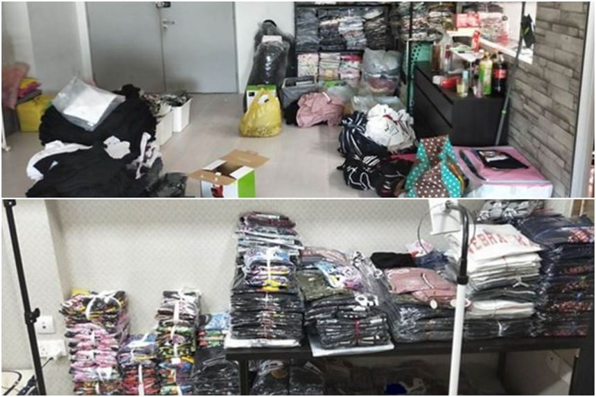 A total of 1,465 pieces of trademark-infringing goods such as T-shirts, pants, caps, dresses, floor mats and handbags were seized, police said.