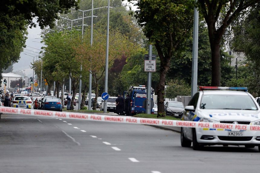 Police cordon off the area in front of the Al Noor mosque after a shooting incident in Christchurch, on March 15, 2019.
