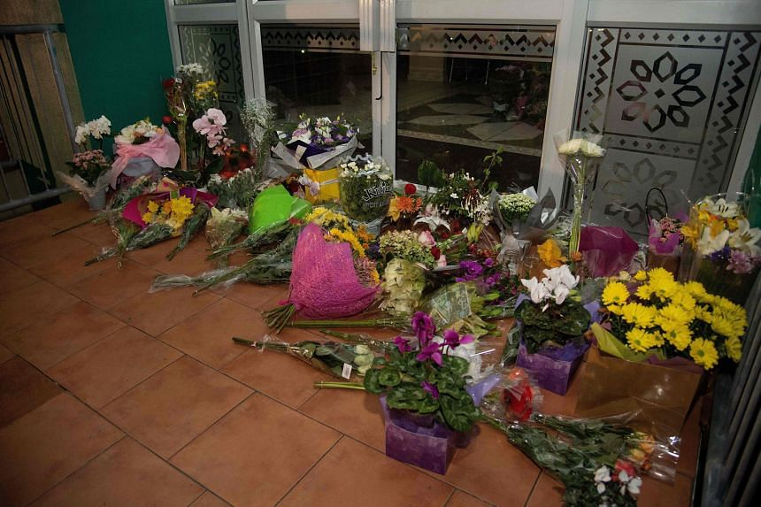 Flowers left on the front steps of the Wellington Masjid in Kilbirnie, in an outpouring of sympathy for the victims of the mosque attacks.