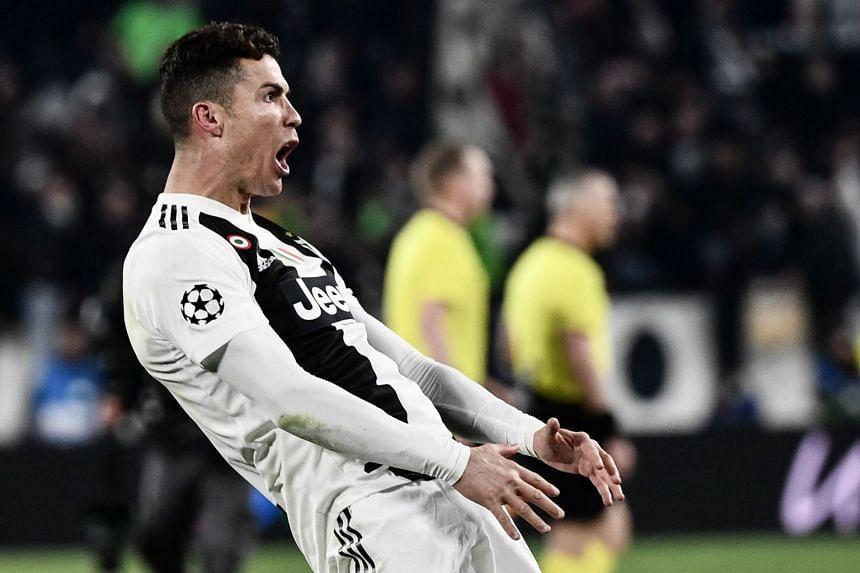 Juventus' Portuguese forward Cristiano Ronaldo celebrates a goal.