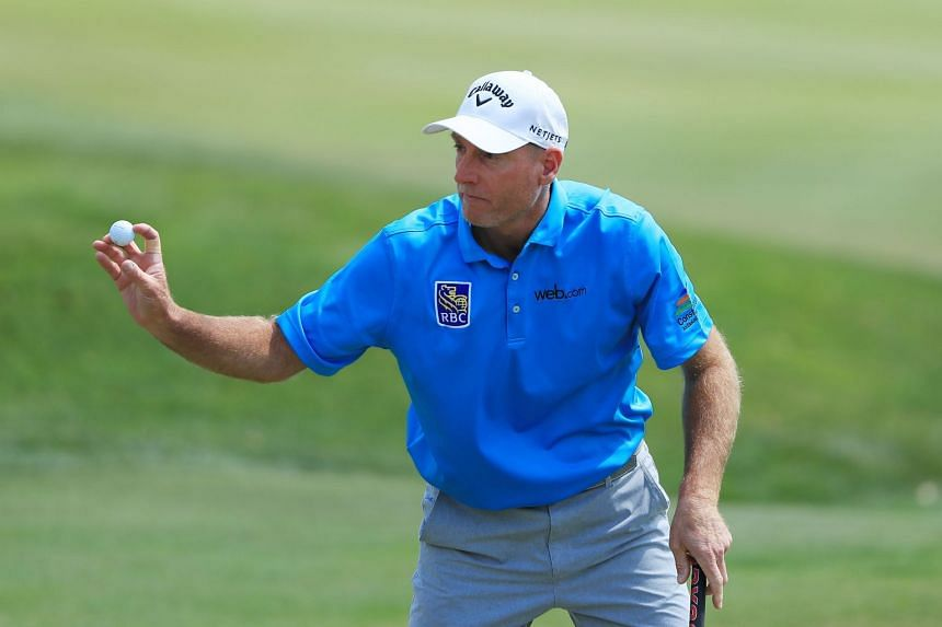 Furyk reacts on the 18th green during the second round of The Players Championship.