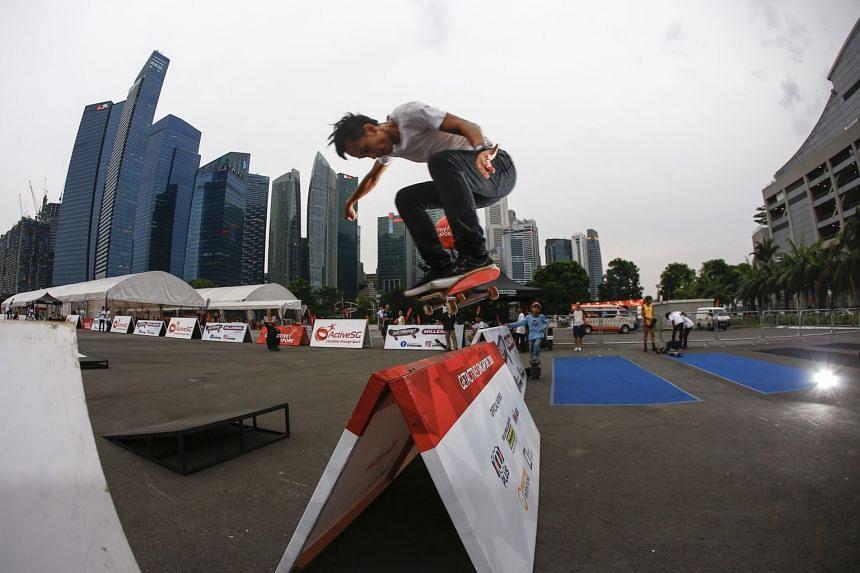 Skateboarder Firdaus Rahman - brother of Farris Rahman - showcasing his skills in a 2016 event.