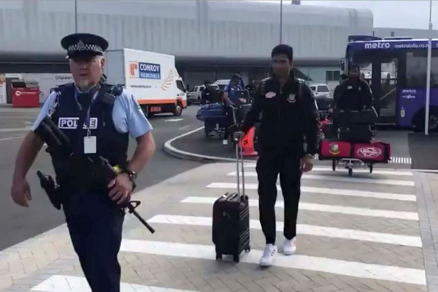 Team members arrive to depart for Bangladesh from Christchurch International Airport in New Zealand.