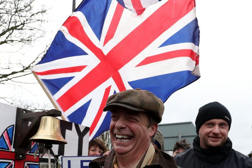 "Brexit campaigner Nigel Farage is pictured during the ""Brexit Betrayal"" march from Sunderland to London."