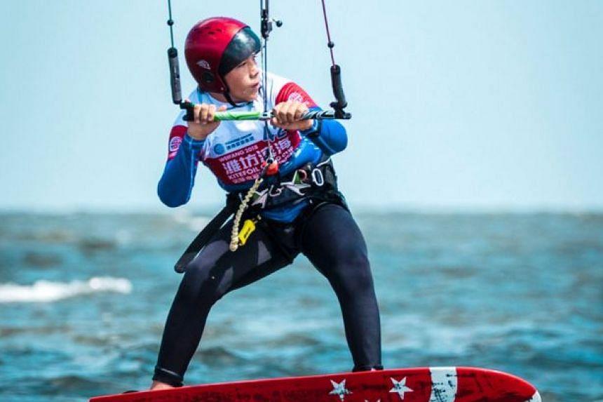 Singapore kiteboarder Maximilian Maeder