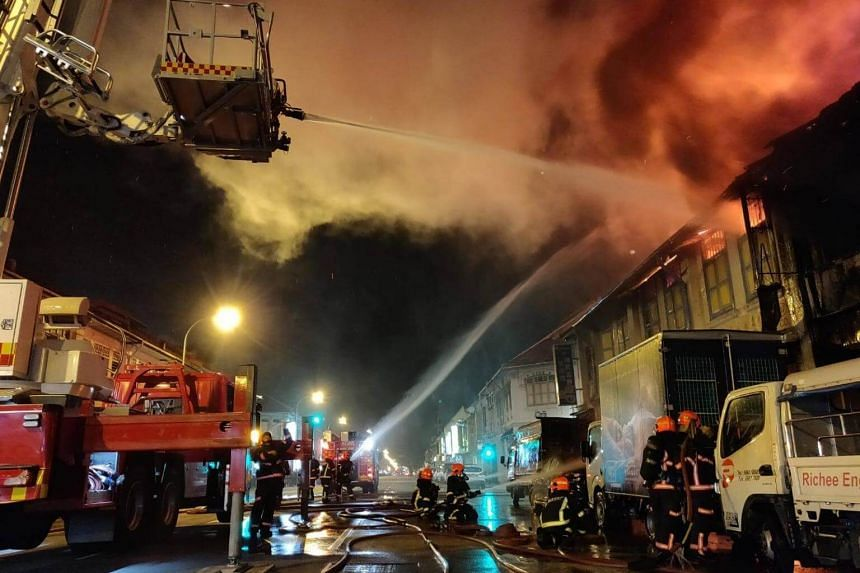 The Singapore Civil Defence Force said that the fire had spread quickly as the shophouse units shared a common roof, and had a high density of furniture and other combustible materials in some of them.