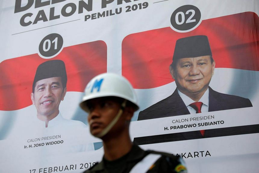 An officer stands guard before the second debate between presidential candidates ahead of the next general election in Jakarta, on Feb 17, 2019.