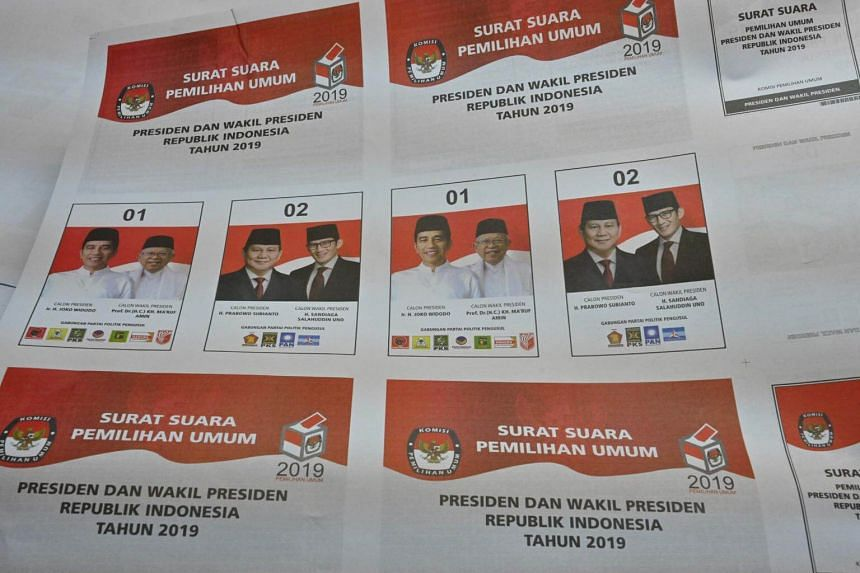Ballot paper samples seen at a printing press in Jakarta on Feb 7, ahead of Indonesia's upcoming general elections to be held on April 17, 2019.