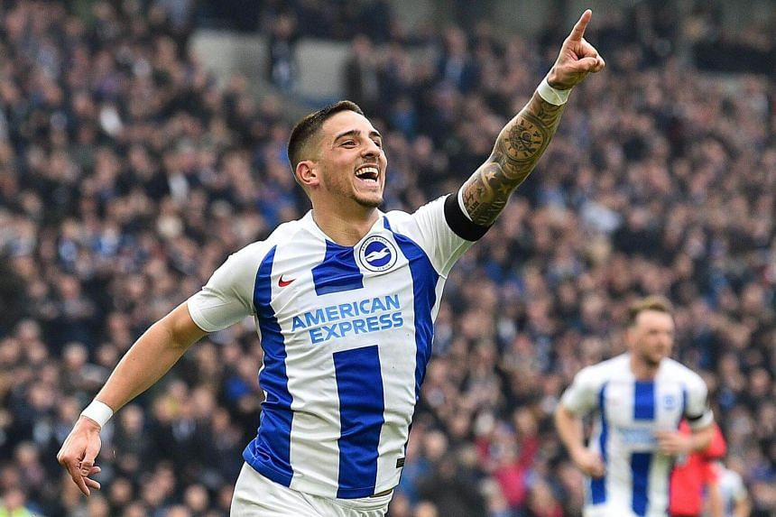 Brighton's midfielder Anthony Knockaert celebrates scoring the opening goal during their English FA Cup fifth round football match against Derby County at the American Express Community Stadium, on Feb 16, 2019.