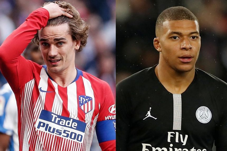 The baby was named after Atletico Madrid's Antoine Griezmann (left) and Paris Saint-Germain's Kylian Mbappe.