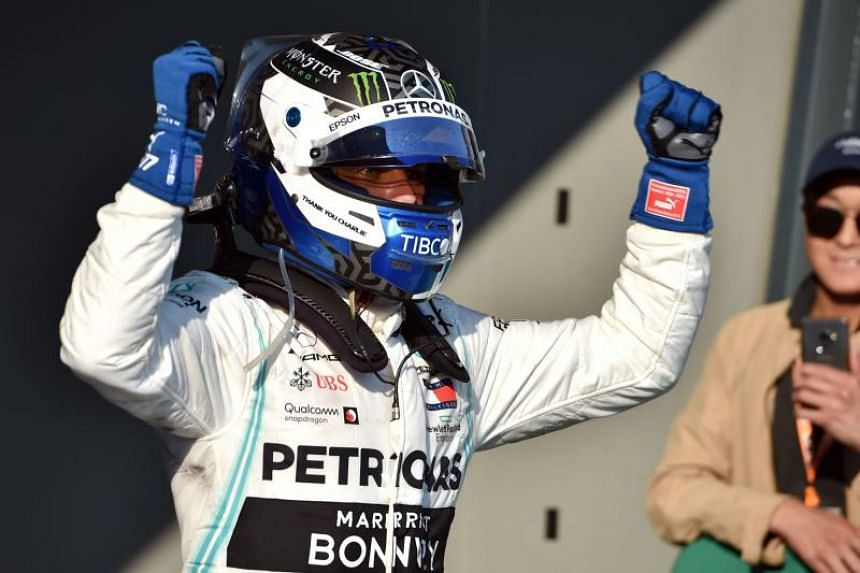 Mercedes' Valtteri Bottas celebrating after winning the Australian Grand Prix in Melbourne on March 17, 2019.