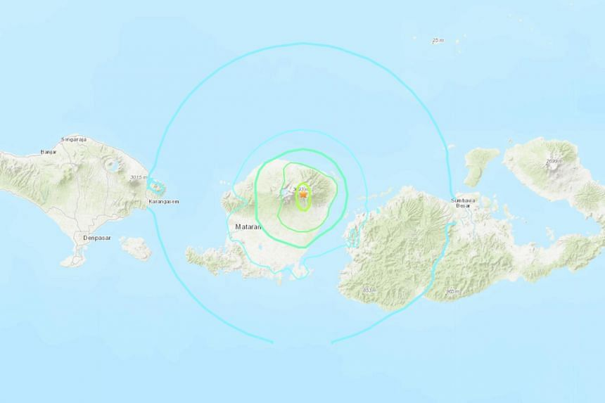 At least five people have been killed and 30 injured after a 5.4-magnitude earthquake hit Lombok Island