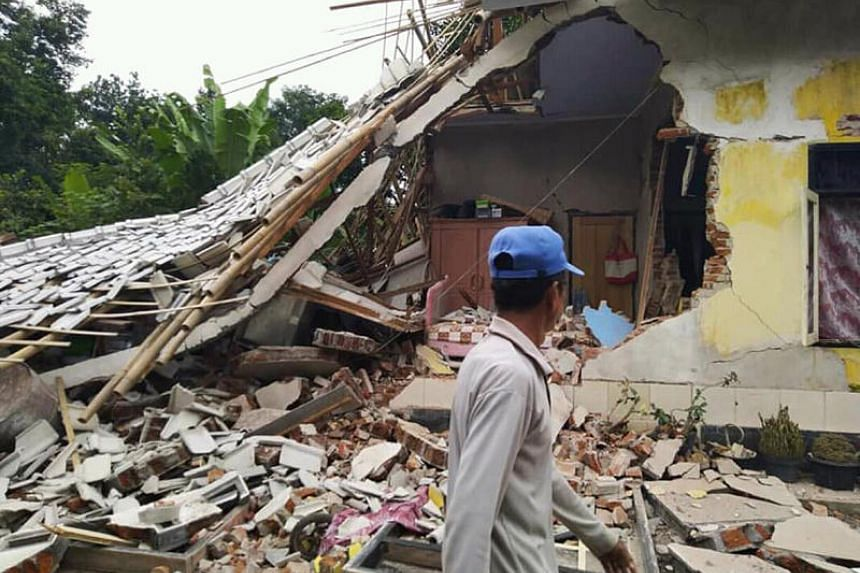 Damage to a house is seen after an earthquake struck Lombok island in Indonesia on March 17, 2019.