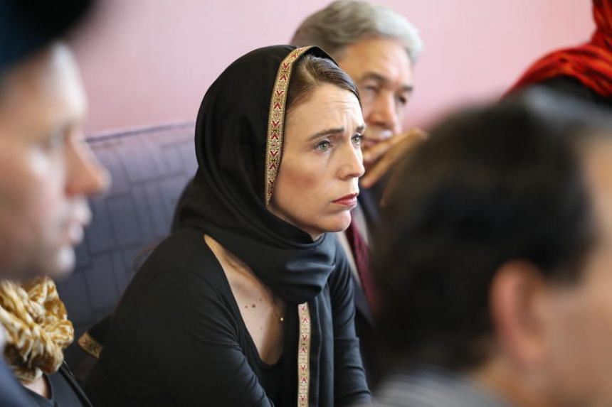New Zealand PM Jacinda Ardern meeting members of the Muslim community in the wake of the mass shooting at two mosques in Christchurch, on March 16, 2019.