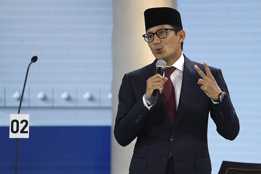 Mr Sandiaga Uno, the vice-presidential pick of presidential hopeful Prabowo Subianto, spoke passionately about research and innovation, start-ups and the burgeoning creative economy. Dr Ma'ruf Amin, President Joko Widodo's running mate, spoke animate
