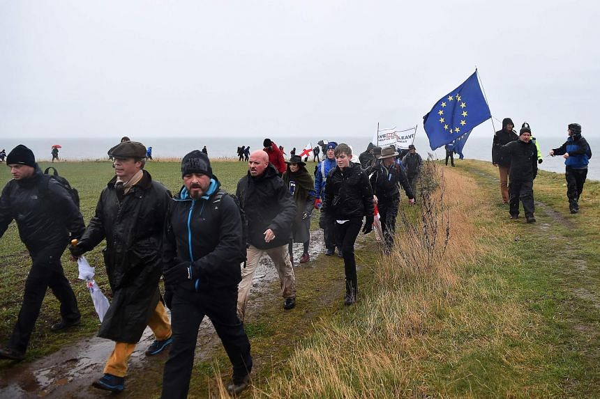 Former UK Independence Party leader and Brexit spearhead Nigel Farage (second from left) during the first leg of the March To Leave in Sunderland onSaturday.It will conclude in London on March 29.