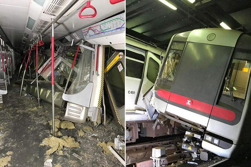 The collision of the two Mass Transit Railway trains happened at around 3am on the Tsuen Wan line when the train operator was testing a new signalling system.