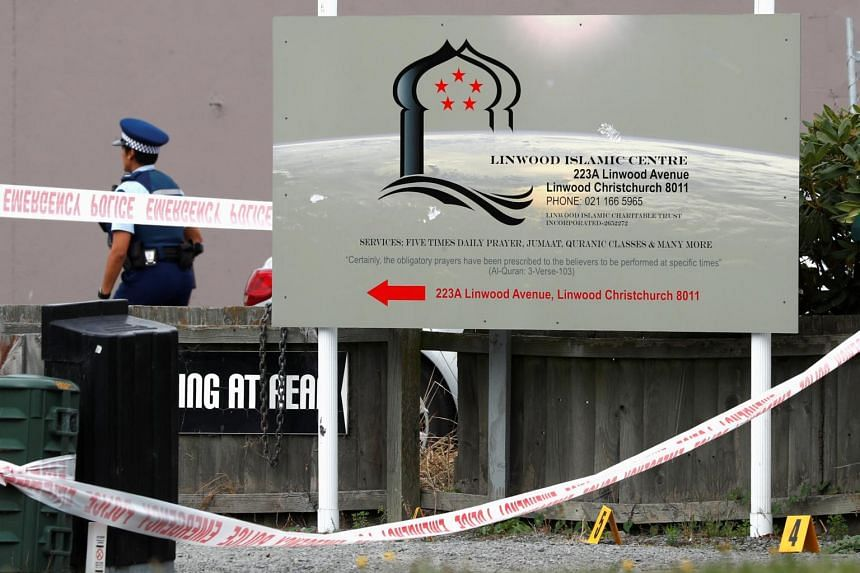 A police officer stands outside the Linwood Mosque, in Christchurch, New Zealand.