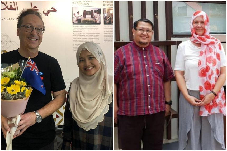 New Zealanders Graeme Merrall (left) and Kim Forrester (right) visited different mosques in Singapore on March 16, 2019, a day after the massacre of 50 people in two Christchurch mosques.