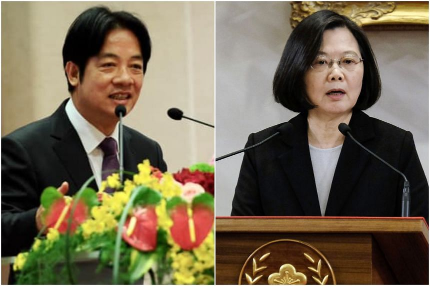 Former Premier Lai Ching-te (left) will be challenging his former boss, President Tsai Ing-wen, for the ruling party's nomination.