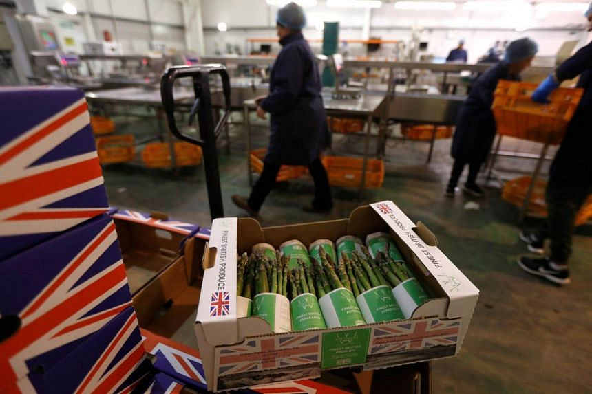 Boxes of asparagus at Cobrey Farms in Ross-on-Wye, Britain, on March 11, 2019.