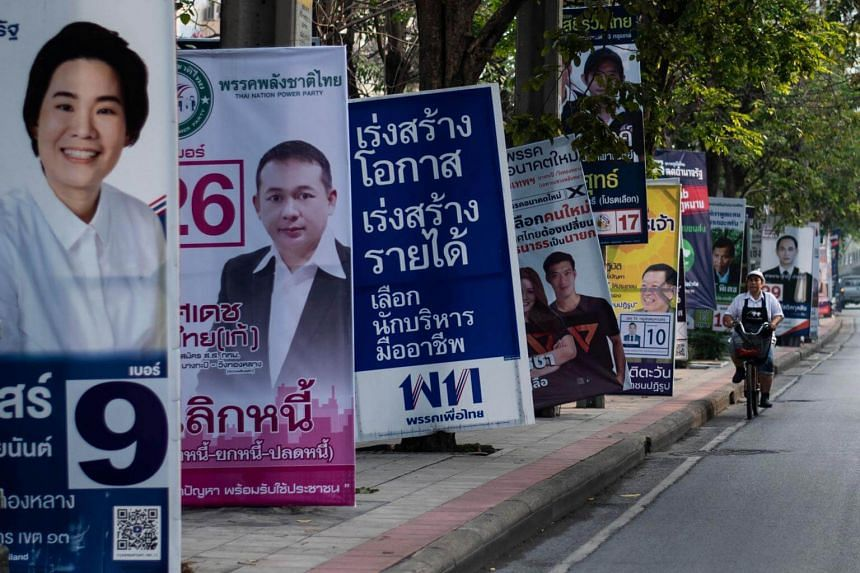 Electoral posters are seen in Bangkok on March 17, 2019, ahead of the March 24 general election.