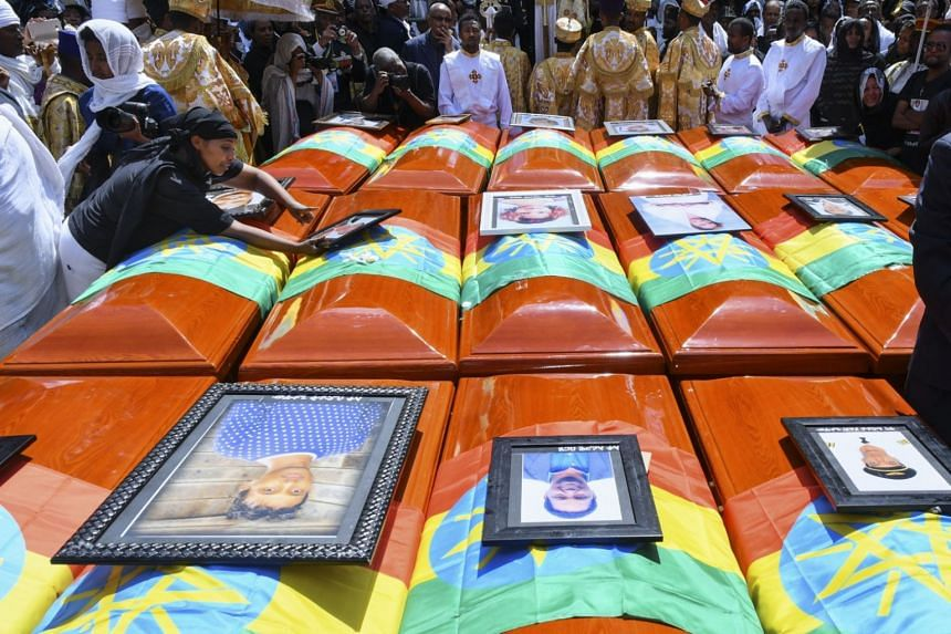 Symbolic coffins at a burial service for the victims of the Ethiopian Airlines plane crash at the Holy Trinity Cathedral in Addis Ababa, on March 17, 2019. Many families do not expect to recover remains, as the victims died in a fiery explosion. In l