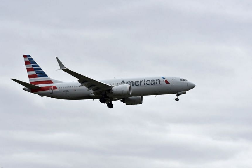 An American Airlines Boeing 737 Max 8 aircraft landing at Tulsa International Airport in Oklahoma, on March 14, 2019.