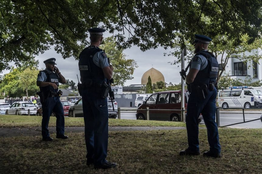 Police securing an area in front of the Al Noor Mosque in Christchurch, New Zealand, where 50 people were killed during a terrorist attack.