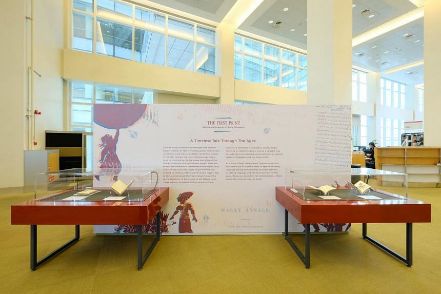 One of the four display cases at The First Print: Stories and Legends of Early Singapore at level 11 of the National Library Building.