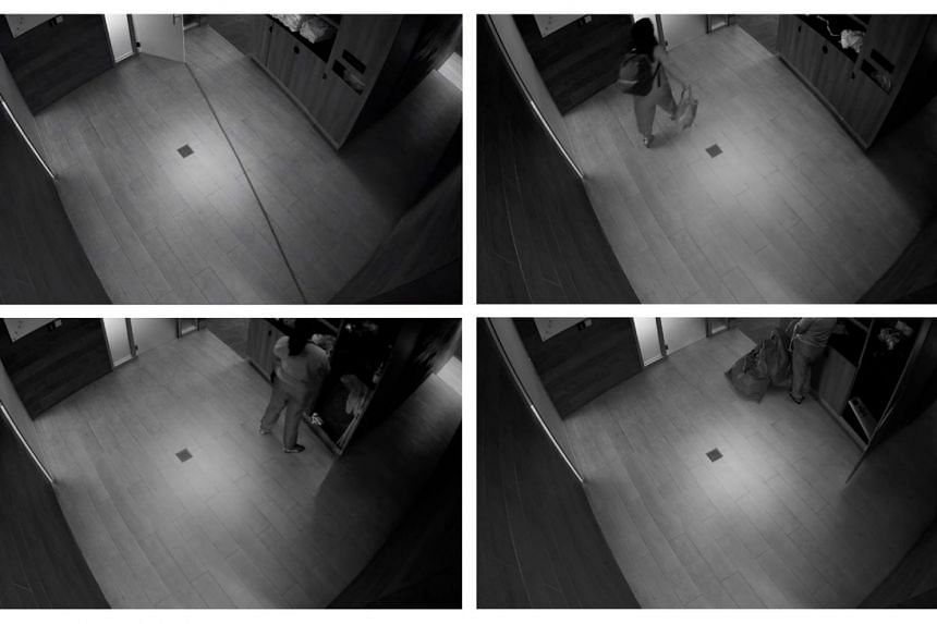 Screengrabs of footage taken from the CCTV in the communal area of the female Relax and Recovery Zone at Virgin Active's Raffles Place gym.
