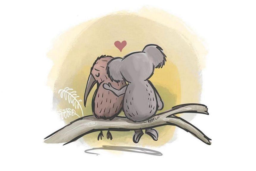 Brisbane illustrator Rebel Challenger's tribute after the Christchurch terror attack showed a koala comforting a kiwi.