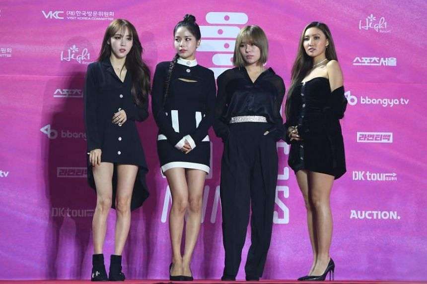 South Korean girl group Mamamoo pose on the red carpet at the 28th Seoul Music Awards in Seoul on Jan 15, 2019.