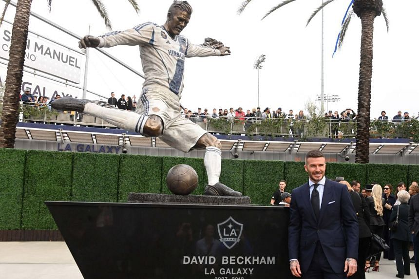 David Beckham at the unveiling of his LA Galaxy statue at Legends Plaza in Dignity Health Sports Park in Los Angeles, California, USA on March 2, 2019.