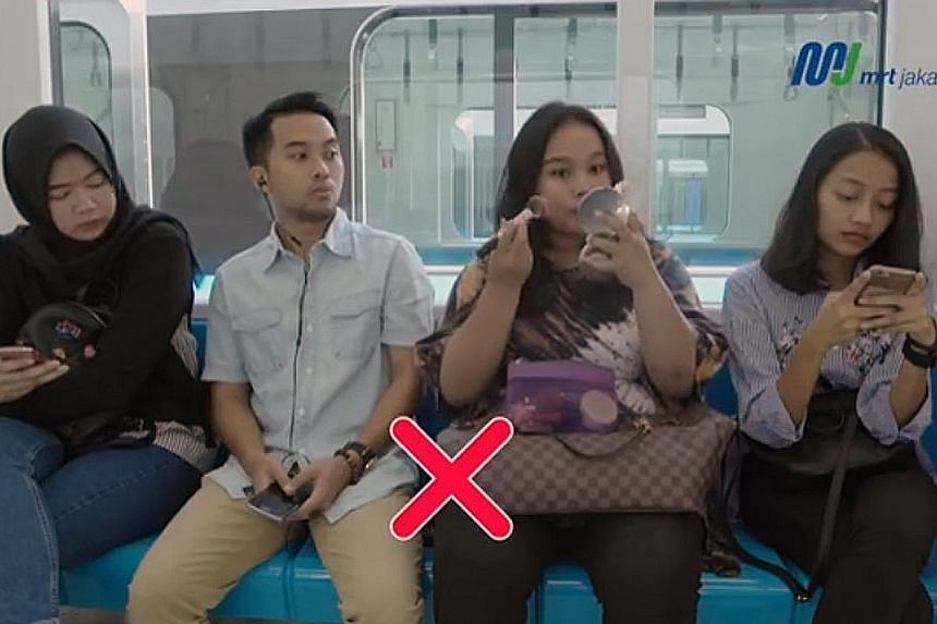 Putting on make-up and inconsiderate phone behaviour are among examples of bad manners on the mass rapid transit system, according to videos posted by MRT Jakarta.