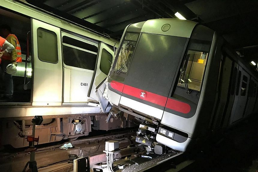 A train derailed during a trial run yesterday and hit the third and fourth compartments of another train going in the opposite direction. At least one driver was hurt.