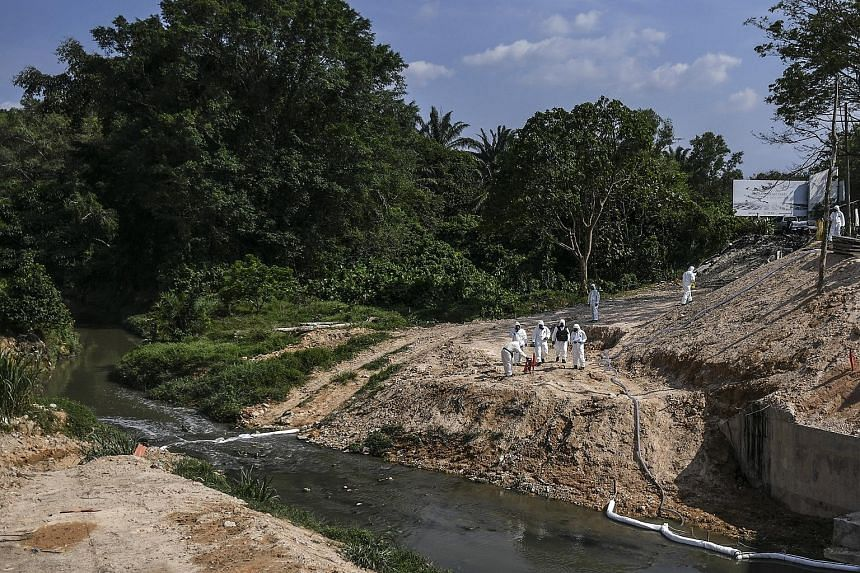 Workers in protective suits cleaning up Sungai Kim Kim in Pasir Gudang, Johor, last Thursday. The technical director of the main contractor involved in cleaning up the river said he and his team have been working round the clock to clean up the pollu