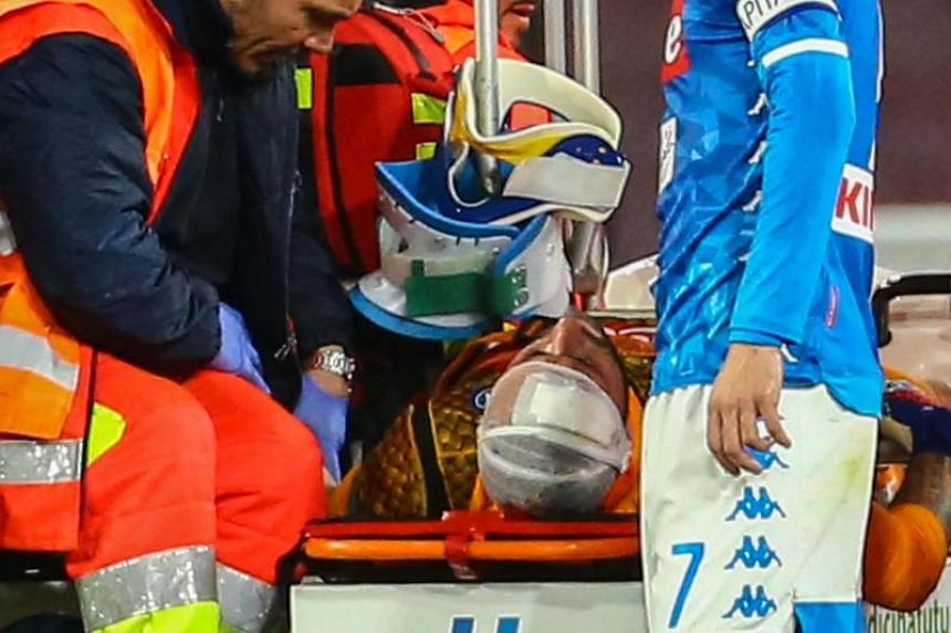 Napoli goalkeeper David Ospina had fallen to the ground 41 minutes after receiving treatment following his collision with Ignacio Pussetto during Sunday's 4-2 win over Udinese.