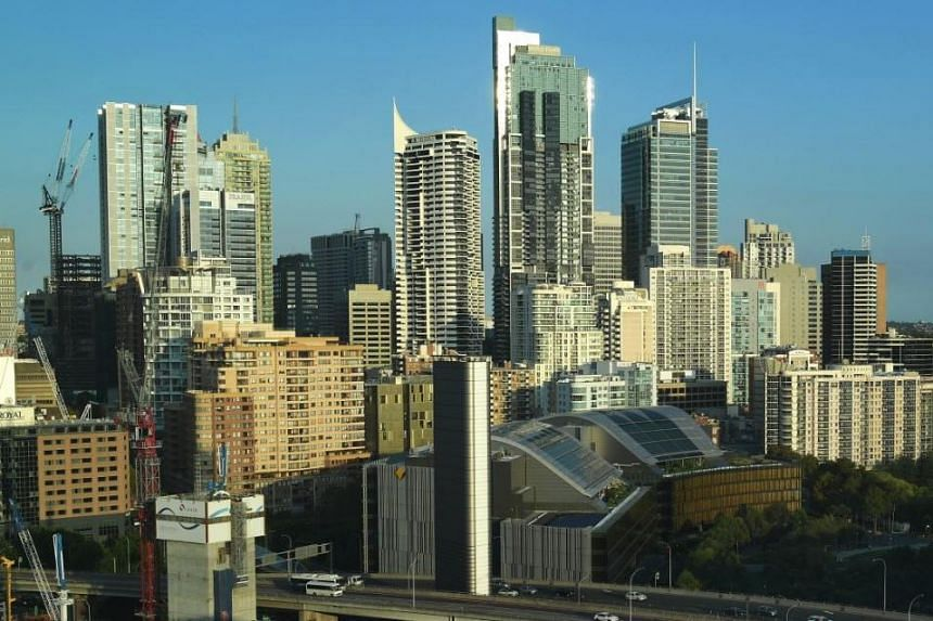 Buildings and skyscrapers lining the skyline of Sydney, Australia, in a photo taken on March 14, 2018.