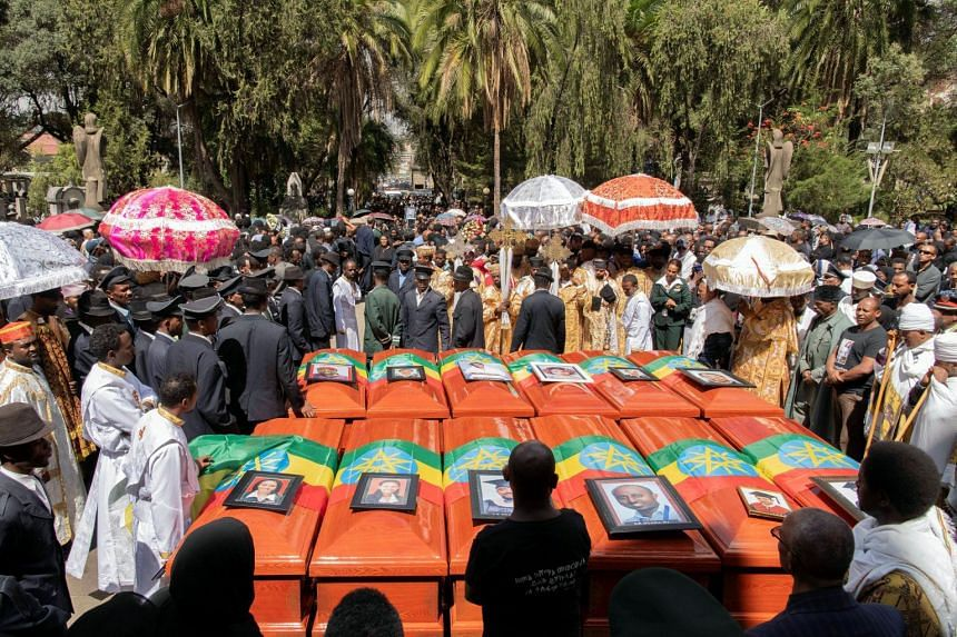 A burial ceremony for those how perished in the Ethiopian Airlines crash at the Holy Trinity Cathedral Orthodox church in Addis Ababa, Ethiopia, on March 17, 2019.