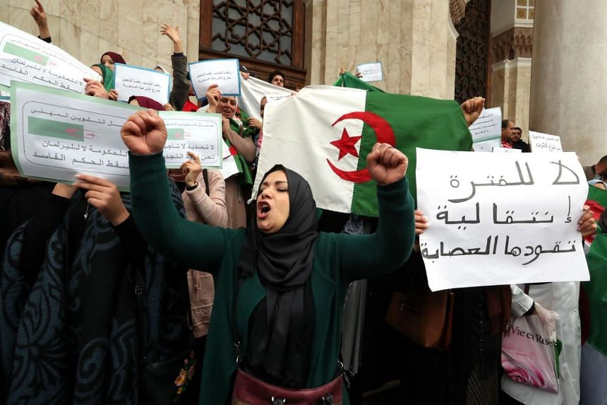 Employees of the Algerian Ministry of Vocational Education and Training protest against extending President Abdelaziz Bouteflika's mandate in Algiers, Algeria, on March 18 2019.