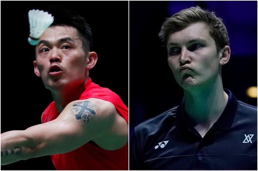 China's two-time Olympic champion and five-time world champion Lin Dan (left) will face third seed and former world No. 1 Viktor Axelsen in the first round of the men's singles at the Singapore Badminton Open.