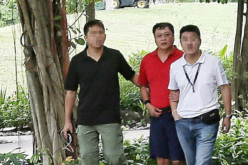 Leslie Khoo Kwee Hock (above), seen here being taken to the crime scene in 2016, took the stand yesterday for the first time to give his account of what happened to Ms Cui Yajie (left).
