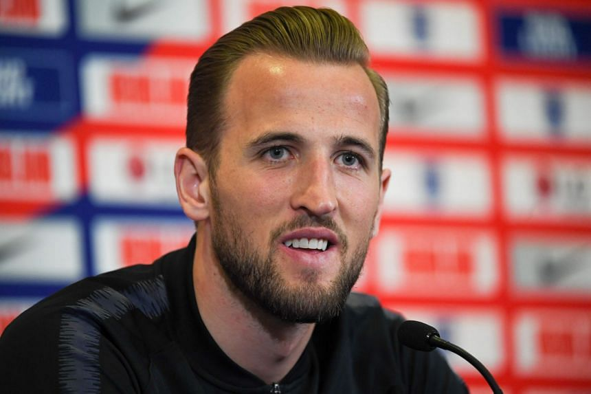 England striker Harry Kane speaks during a press conference at St George's Park in Burton-on-Trent, central England.