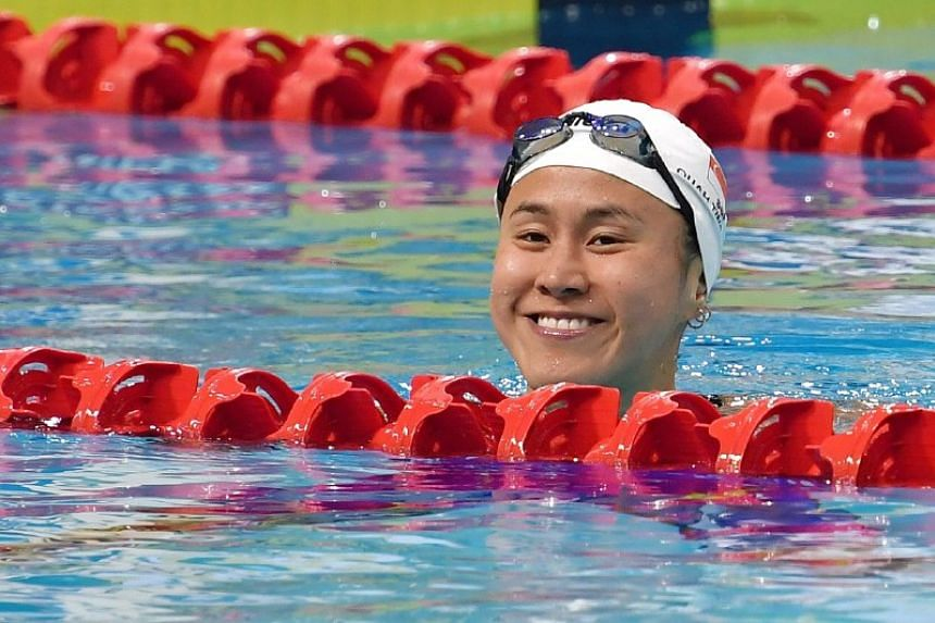 Quah Ting Wen topped the heats in 54.98 seconds before winning the event in 54.82sec at the Liberty Insurance 50th Singapore National Age Group Swimming Championships on March 20, 2019.