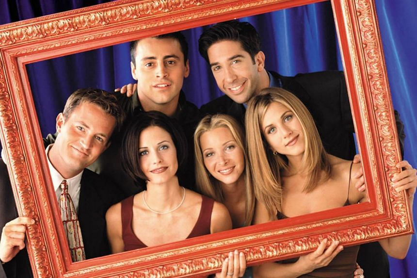 (Clockwise from left) Matthew Perry, Matt LeBlanc, David Schwimmer, Jennifer Aniston, Lisa Kudrow and Courtney Cox Arquette as the main cast of television series Friends.