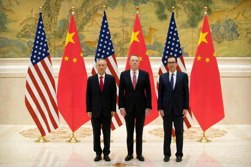 (From right) US Treasury Secretary Steven Mnuchin and Trade Representative Robert Lighthizer in a meeting with China's top economic czar Liu He in Beijing, on Feb 14, 2019.