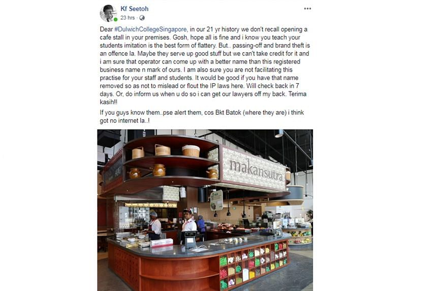 """Dulwich College (Singapore) has since removed the signboard with the word """"Makansutra""""."""