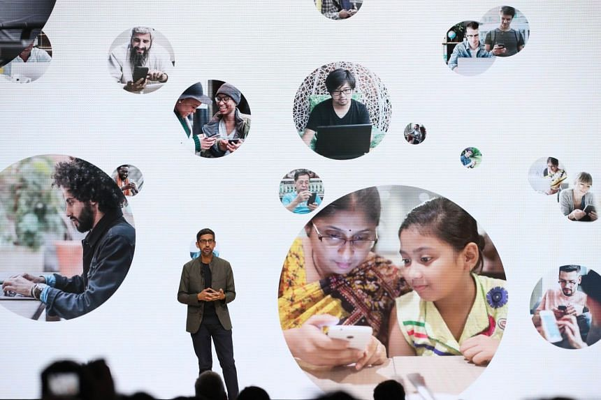 Google CEO Sundar Pichai speaks during the GDC Game Developers Conference in San Francisco.